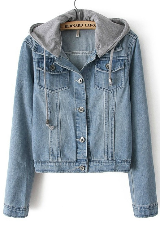 Light Blue Hooded Long Sleeve Bleached Denim Crop Jacket -SheIn ...