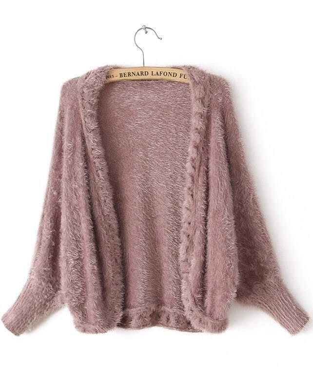 Purple Long Sleeve Mohair Cardigan Sweater -SheIn(Sheinside)