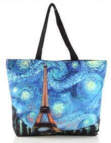 Blue Galaxy Iron Tower Print Shoulder Bag