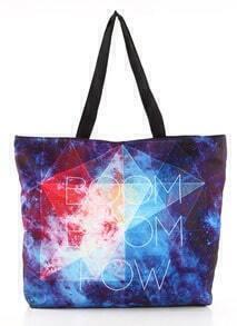 Blue Galaxy Geometric BOOM Print Shoulder Bag