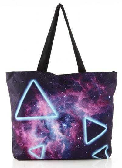 Purple Galaxy Triangle Print Zipper Shoulder Bag