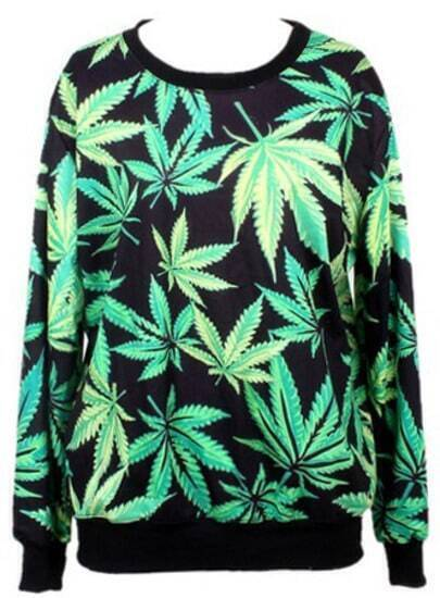 Black Long Sleeve Green Leaves Print Sweatshirt