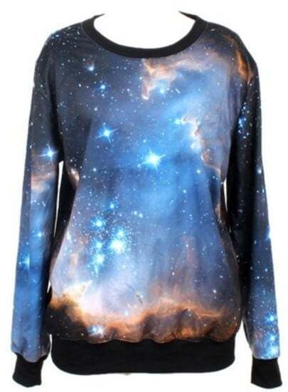Dark Blue Long Sleeve Galaxy Print Loose Sweatshirt