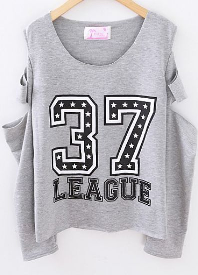 Grey Cut Out Long Sleeve 37 LEAGUE Print T-shirt