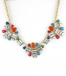 Multi Gemstone Gold Geometric Necklace