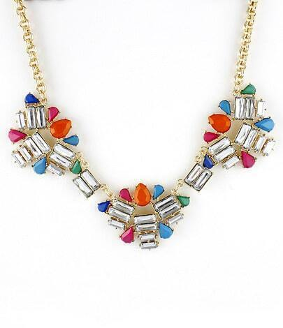 Multi Gemstone Gold Geometric Necklace