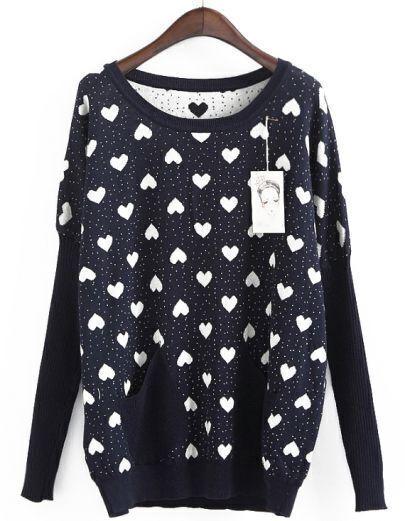 Dark Blue Long Sleeve Hearts Pattern Loose Sweater
