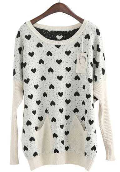 Apricot Long Sleeve Hearts Pattern Loose Sweater