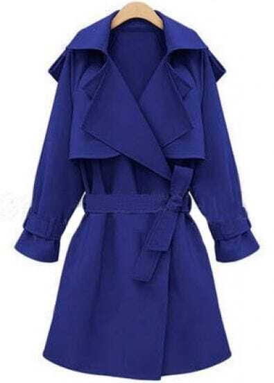 Blue Long Sleeve Belt Loose Trench Coat
