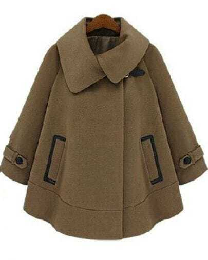 Brown Lapel Long Sleeve Pockets Cape Outerwear