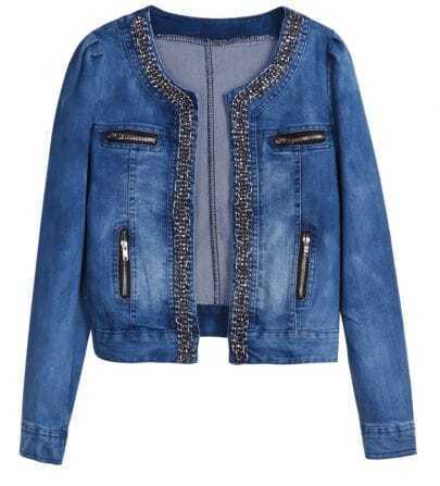 Blue Long Sleeve Chain Zipper Pockets Denim Jacket