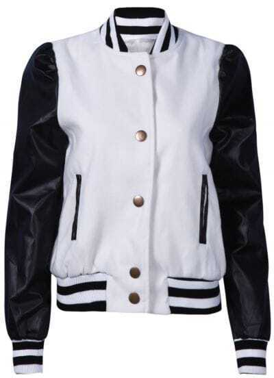 White Stand Collar Contrast Long Sleeve Jacket