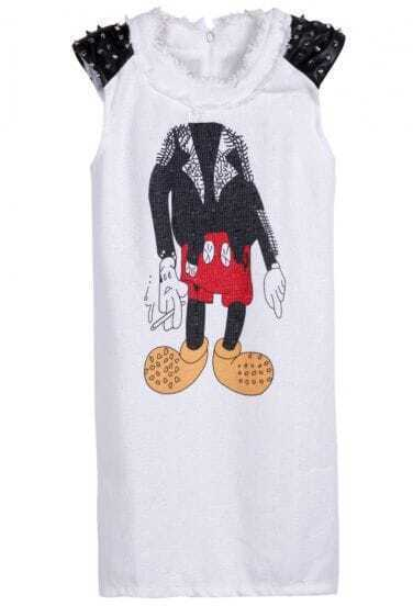 White Contrast Leather Shoulder Rivet Mickey Print Dress