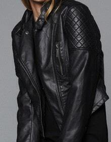 Black Long Sleeve Zipper Pockets Leather Jacket