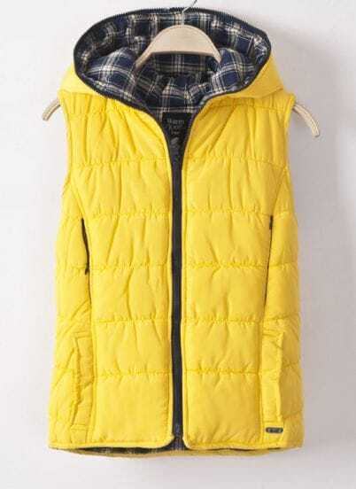 Yellow Hooded Sleeveless Plaid Wear Both Sides Down Coat