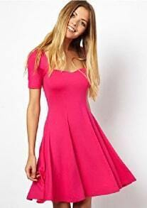 Rose Red Short Sleeve Square Neck Elastic Pleated Dress