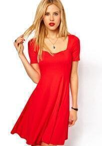 Red Short Sleeve Square Neck Elastic Pleated Dress