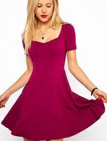Purple Short Sleeve Square Neck Elastic Pleated Dress