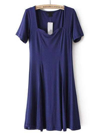 Dark Blue Short Sleeve Square Neck Elastic Pleated Dress