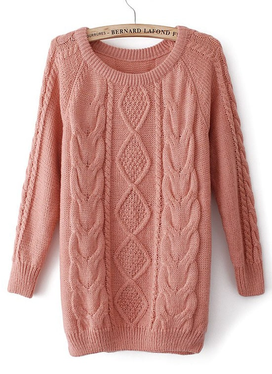 Pink Long Sleeve Diamond Patterned Cable Knit Sweater -SheIn ...