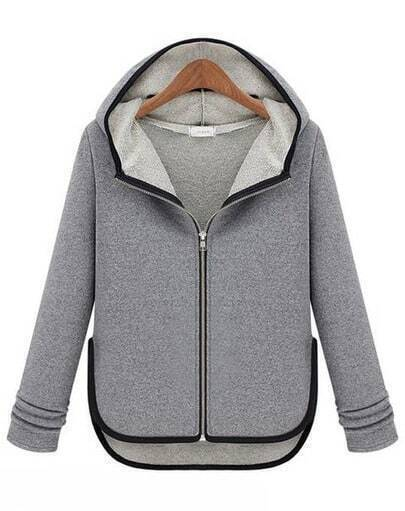 Grey Hooded Long Sleeve Contrast Trims Coat