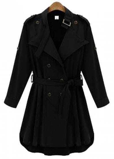 Black Long Sleeve Epaulet Belt Trench Coat