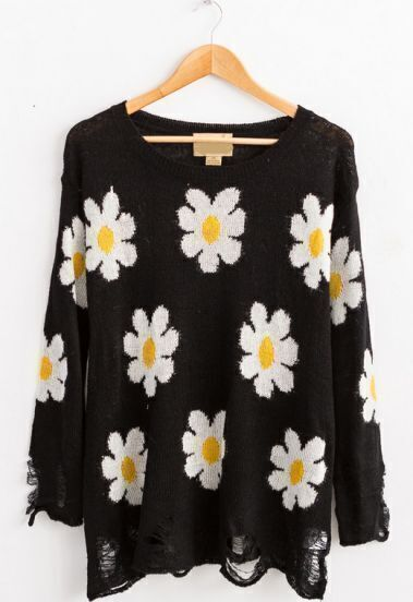 Black Long Sleeve Daisy Ripped Hem Sweater
