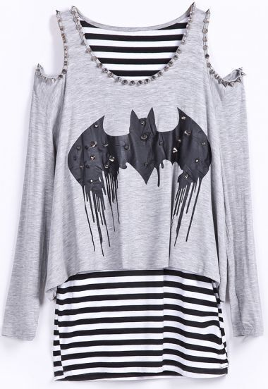 Grey Stripe Rivets Bat Print Off Shoulder T-Shirt