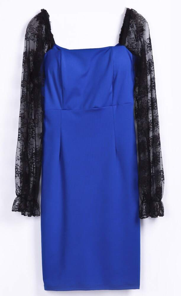 Royal Blue Contrast Lace Embroidery Sleeve Backless Dress
