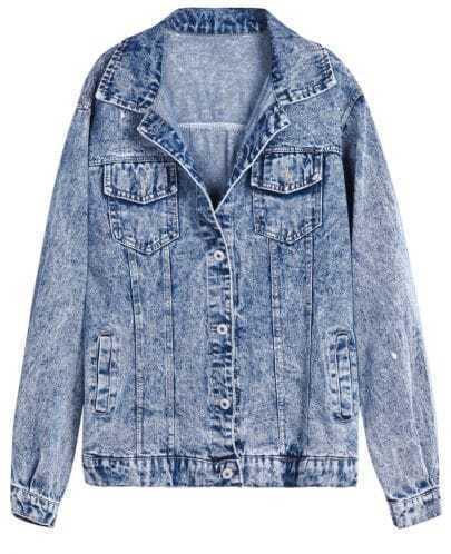 Blue Long Sleeve Notch Lapel Pockets Denim Jacket