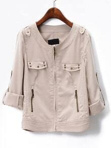 Beige Long Sleeve Zipper Epaulet Jacket