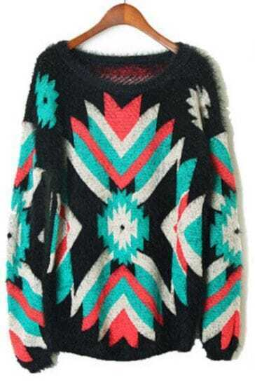 Black Long Sleeve Green Geometric Pattern Pullover Sweater