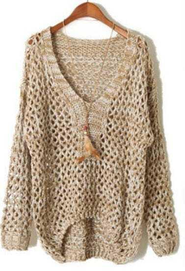 Khaki V Neck Long Sleeve Sheer Hollow Sweater