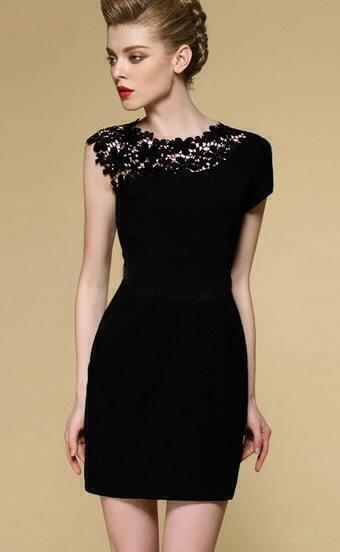 Black Sleeveless Contrast Lace Shoulder Dress