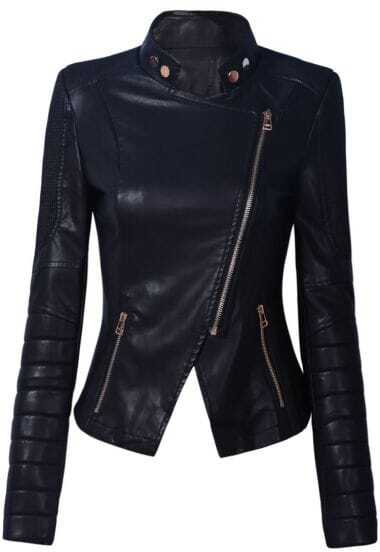 Black Stand Collar Side Zipper Biker Jacket