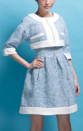 Blue V Neck Sleeveless Dress With Tweed Crop Coat
