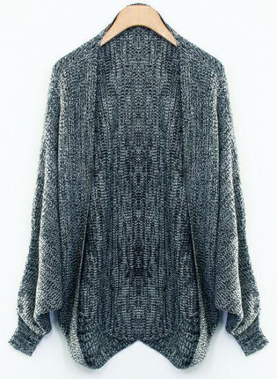 Dark Grey Batwing Long Sleeve Knit Cardigan