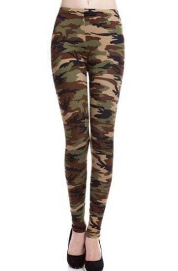 Army Green Camouflage Elastic Slim Pant