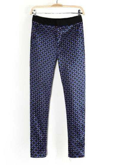 Blue Black Plaid Pockets Casual Pant
