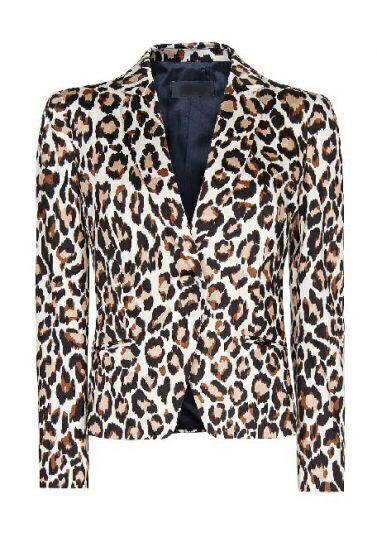 Leopard Long Sleeve Single Button Crop Blazer