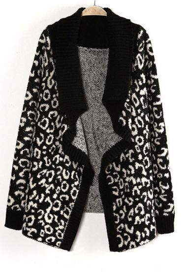 Black Leopard Long Sleeve Owl Pattern Sweater
