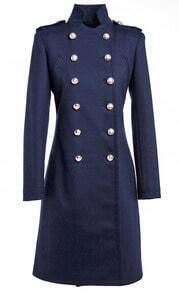 Navy Double Breasted Longline Wool Coat
