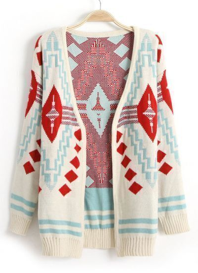 Beige Long Sleeve Diamond Patterned Cardigan