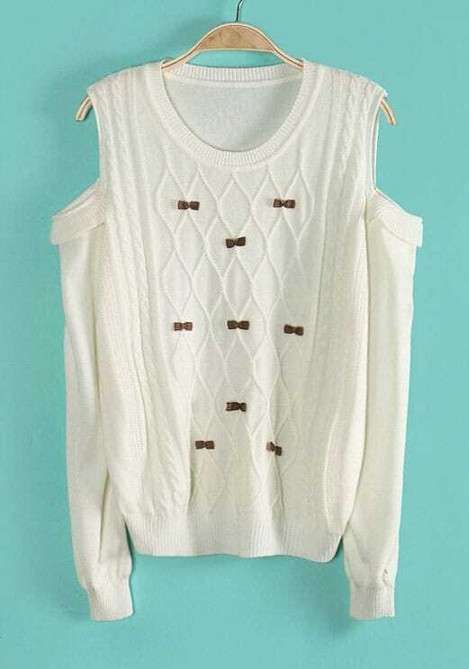 Beige Off the Shoulder Geo Pattern Bow Knit Sweater -SheIn(Sheinside)