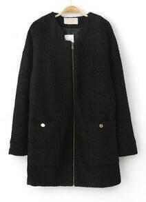 Black Long Sleeve Zipper Pockets Coat