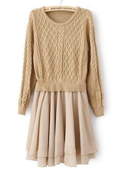 Khaki Long Sleeve Geo Pattern Contrast Chiffon Dress