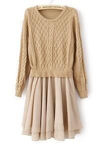 Khaki Long Sleeve Geo Pattern Contrast Chiffon Dress