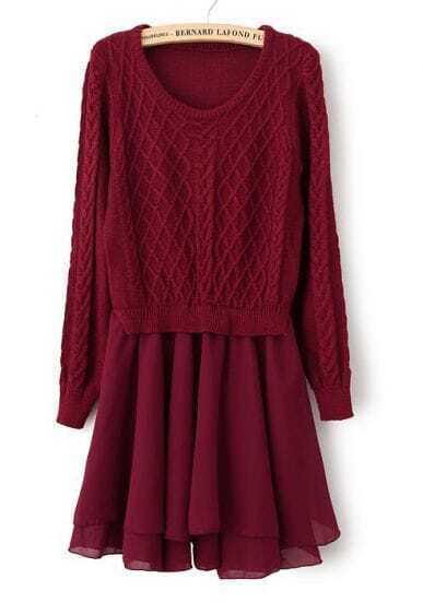 Wine Red Long Sleeve Geo Pattern Contrast Chiffon Dress