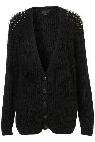 Black V-neck Rivet Shoulder Double Pockets Cardigan