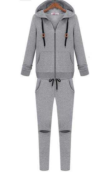 Grey Long Sleeve Hooded Coat With Knee Hole Pants